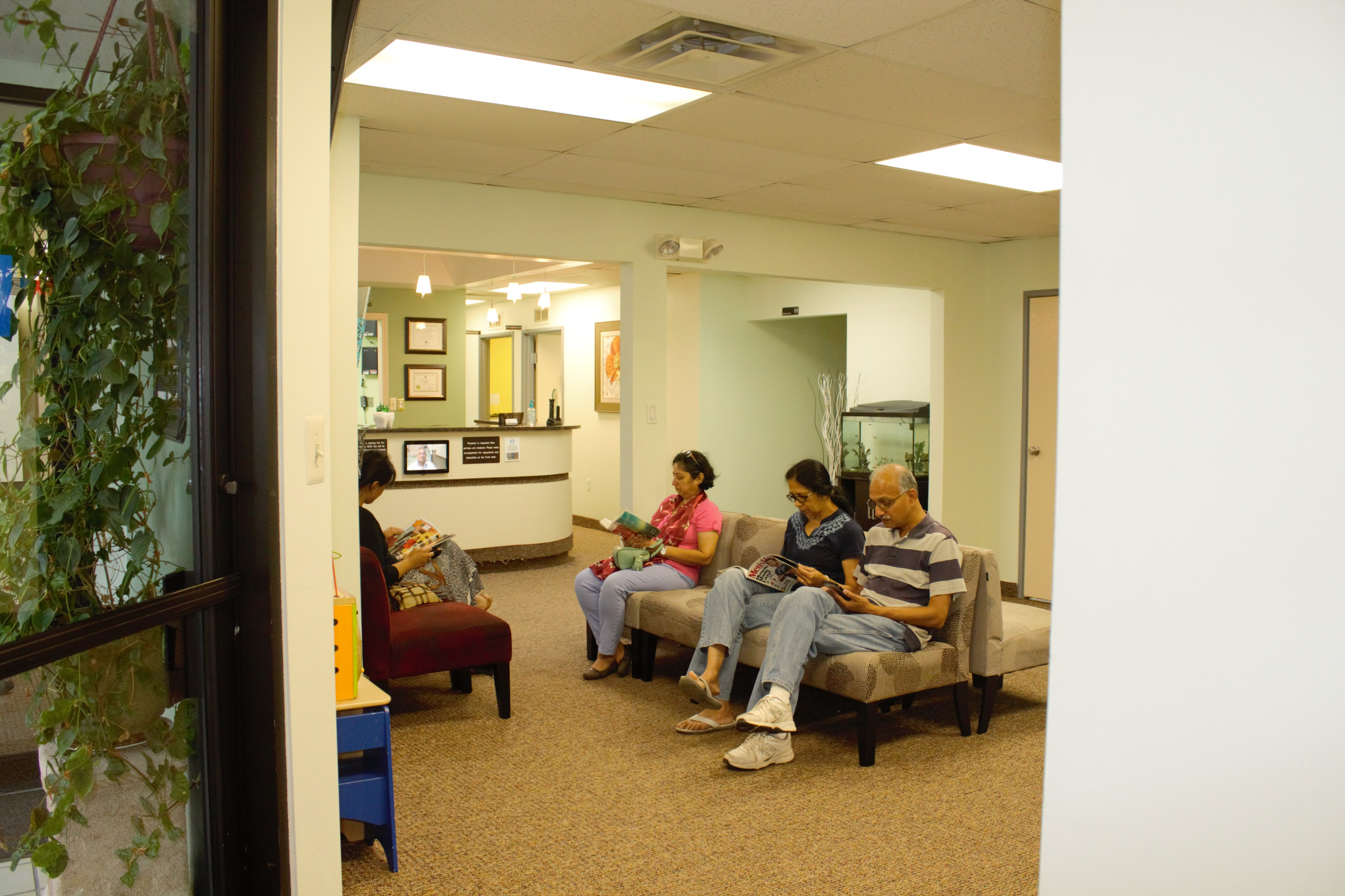 Patients relaxing in lobby